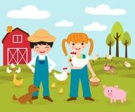 Cute little farmers. A vector illustration of two cute little farmers at a farm Royalty Free Stock Photo