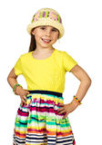 Cute little fashion girl in colorful summer Royalty Free Stock Images