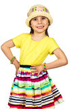 Cute little fashion girl in colorful summer Royalty Free Stock Photos