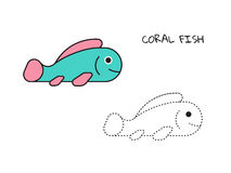 Cute little fish for coloring book. Vector flat illustration Stock Images