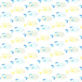 Cute little fish seamless vector baby background. Painted with different geometric figures Stock Photo
