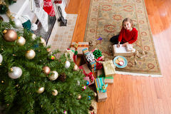 Cute little five year old girl writing to Santa Royalty Free Stock Photos