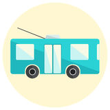 Cute little flat trolley bus icon. Bright blue trolleybus icon Royalty Free Stock Photos