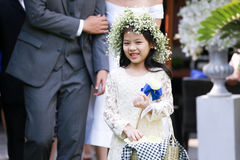 Cute little flower girl. In the wedding ceremony Royalty Free Stock Image