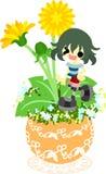 The cute little flowerpot -dandelion- Stock Image