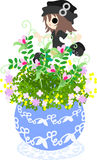 The cute little flowerpot -vetch- Stock Image