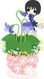The cute little flowerpot -violet- Stock Photography