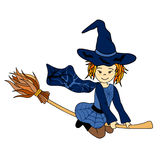 Cute little flying witch Stock Photography