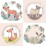 Cute little fox, deer and pug illustration set Stock Photography