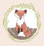 Cute little fox illustration for children. Royalty Free Stock Photo
