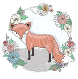 Cute little fox illustration Stock Photography