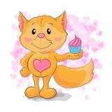 Cute little Fox with kapkejkom. Vector illustration Royalty Free Stock Images