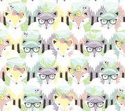 Cute little fox seamless pattern. Background with animals for ch Royalty Free Stock Photography
