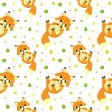Cute little fox seamless pattern. funny endless background, texture. Children`s backdrop. Vector illustration vector illustration