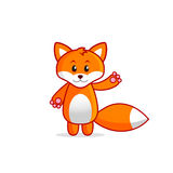 Cute Little Fox Vector Illustration for Kids. Funny Smiling Little Fox cartoon character. Vector illustration isolated on white background Royalty Free Stock Photography