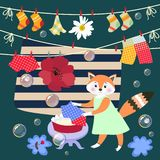 Cute little fox washes clothes. Vector illustration. Beautiful card with lovely animal, bubbles, poppy and daisy.  vector illustration