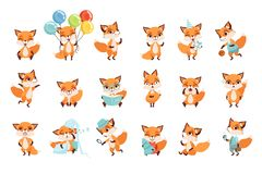 Cute little foxes showing various emotions and actions. Cartoon characters of forest animals. Flat vector design for royalty free illustration