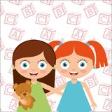 Cute little friends girl happy. Vector illustration royalty free illustration