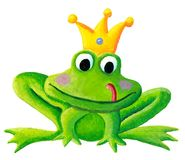 Cute little frog prince with a golden crown on its head acrylic Royalty Free Stock Photography