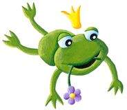 Cute little frog prince jumping Stock Photography