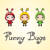 Cute little funny baby bugs royalty free illustration
