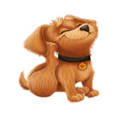Cute Little Furry Puppy - Cartoon Animal Character Mascot Sitting and Scratching Perky Ears Stock Photography