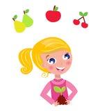 Cute little gardener child with plant and fruit. Happy blond gardener girl in pink costume. Vector Illustration vector illustration