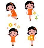 Cute little gardener Girl set. Little gardener Girl. Vector Illustration vector illustration