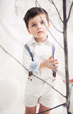 Cute little gentleman looking at the branch Stock Image