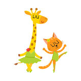 Cute little giraffe and cat, kitten characters dancing ballet together. Cartoon vector illustration isolated on white background. Little cat, kitten and Stock Image