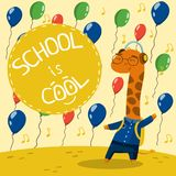 Cute little giraffe in school uniform with balloons, School is cool vector illustration, design element for poster or. Cute little giraffe in school uniform with vector illustration