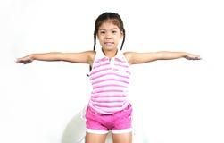 Cute little girl 009. Cute little asian girl on white background series stock images
