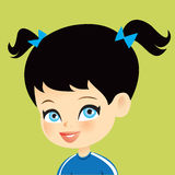 Cartoon Girl Children Illustration Portrait Stock Photo