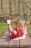 Cute Little Girl. In the Park Royalty Free Stock Photography