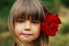 Cute little girl. Cute and beautiful little girl with rose Royalty Free Stock Photos