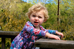 Cute Little Girl. A cute little girl gives a funny look to the camer Royalty Free Stock Photos