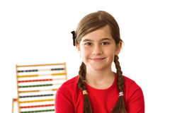 Cute little girl with an abacus Royalty Free Stock Images