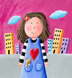 Cute little girl. Acrylic illustration of cute little girl Royalty Free Stock Image