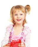 Cute Little Girl And Violet Beads Stock Images