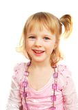 Cute Little Girl And Violet Beads Royalty Free Stock Photos