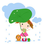Cute little girl and animal Royalty Free Stock Images