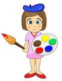 Cute Little Girl Artist. Vector Illustration of a cute little girl artist Stock Images