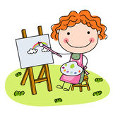 Cute Little Girl Artist Royalty Free Stock Photo