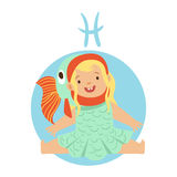 Cute little girl as Pisces astrological sign. Horoscope symbol colorful character vector Illustration Stock Photo