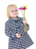Cute little girl in autumn coat Royalty Free Stock Images