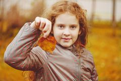 Cute little girl with autumn leaves royalty free stock image