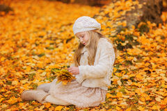 Cute little girl in autumn park holding a bouquet of maple leaves Stock Photos