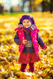 Cute little girl in the autumn park Stock Photography