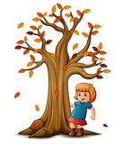 Cute little girl with autumn tree Royalty Free Stock Images
