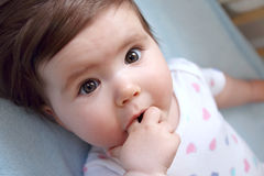 Cute little girl. Baby girl looking up sucking on a finger Royalty Free Stock Images